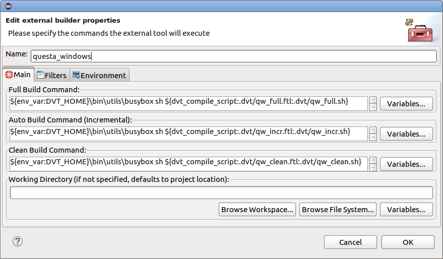 41 5 Generating External Tool Scripts from the DVT Build