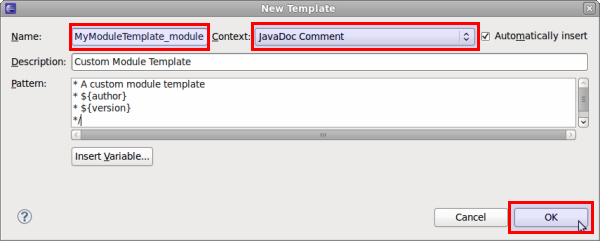 eclipse comment template - 27 2 1 javadoc