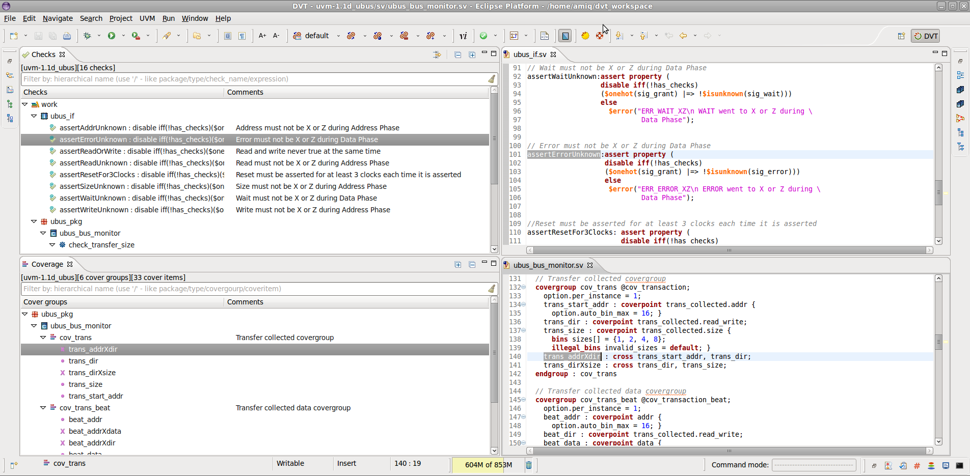 Explore Checks and Coverage with DVT Eclipse IDE
